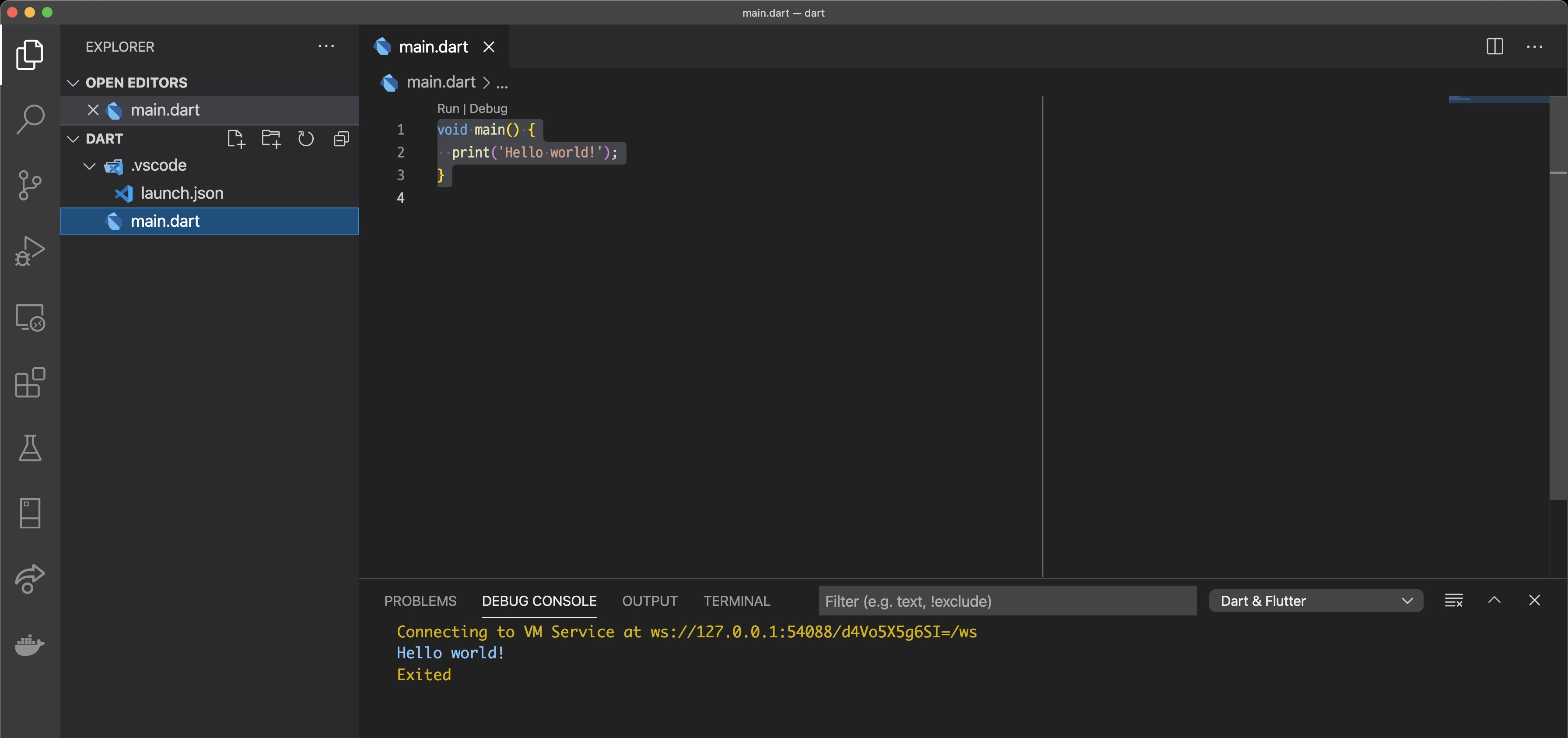 VSCode - Dart Hello world