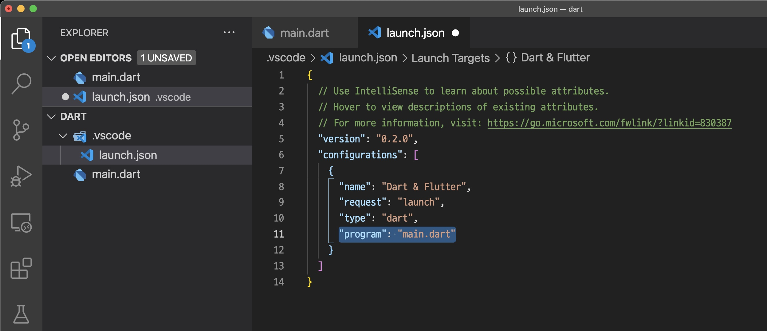 VSCode - Dart launch.json