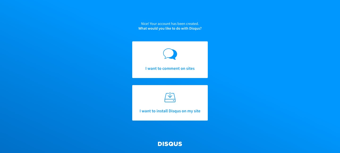 disqus account created