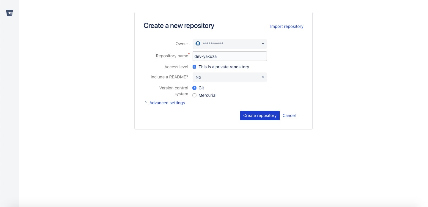 bitbucket menu repository information