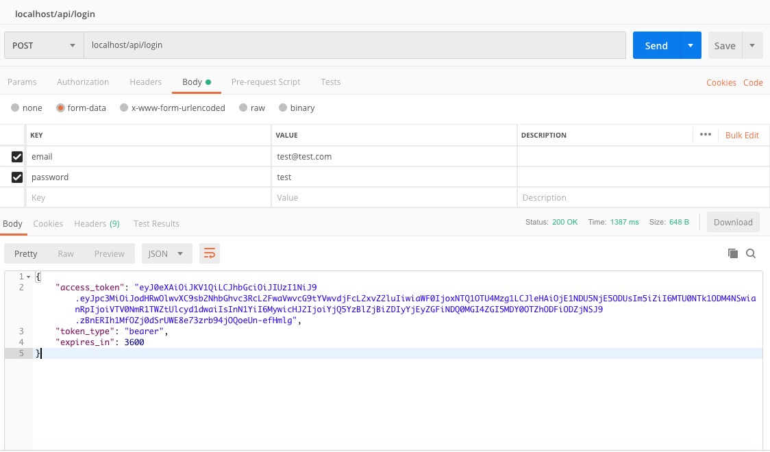 postman login api test