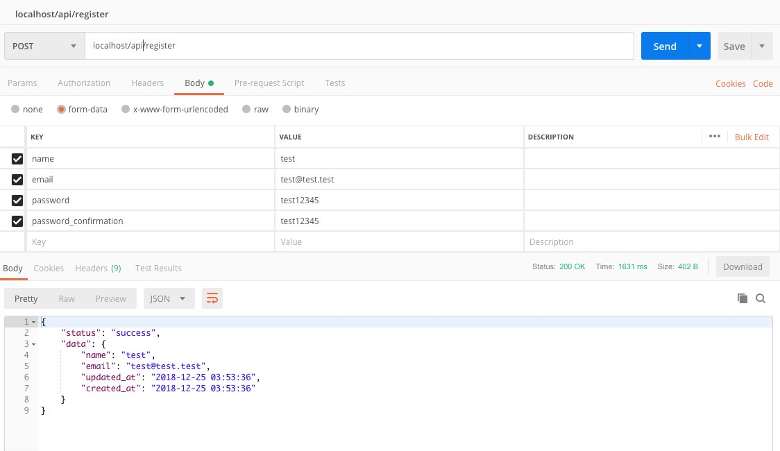 postman register api test