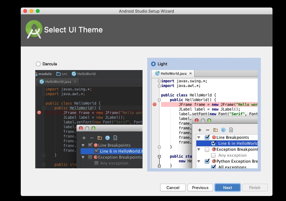 react-native development environment setting - Android studio theme configuration