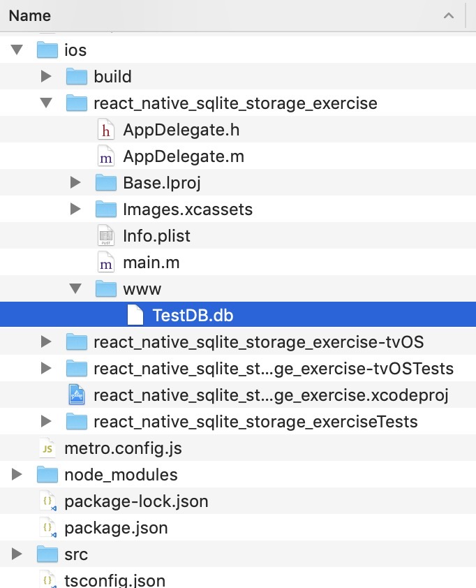 react-native-sqlite-storage create www folder and copy db file