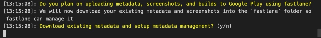 deploy automatically React Native app via Fastlane - initialization of Android fastlnae: download metadata