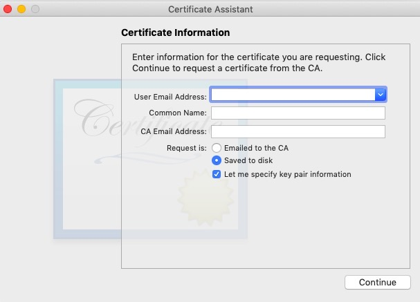insert certification info to Keychain access
