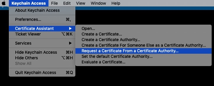 Request a Certificate From a Certificate Authority...
