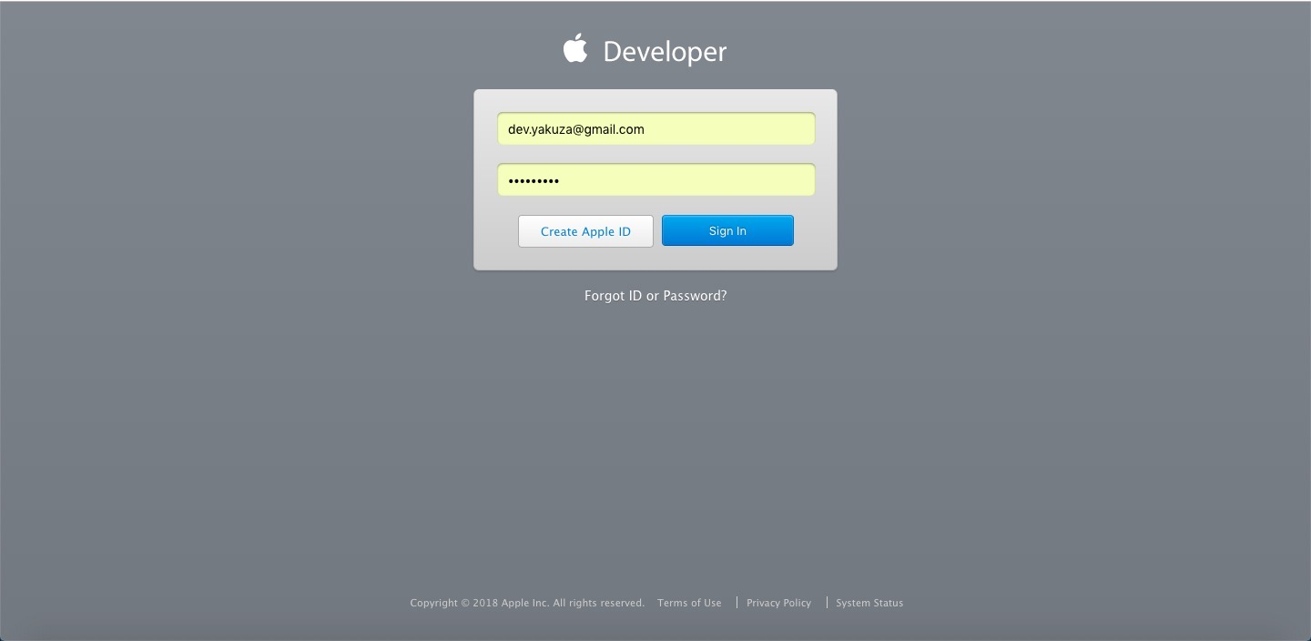 apple developer site login