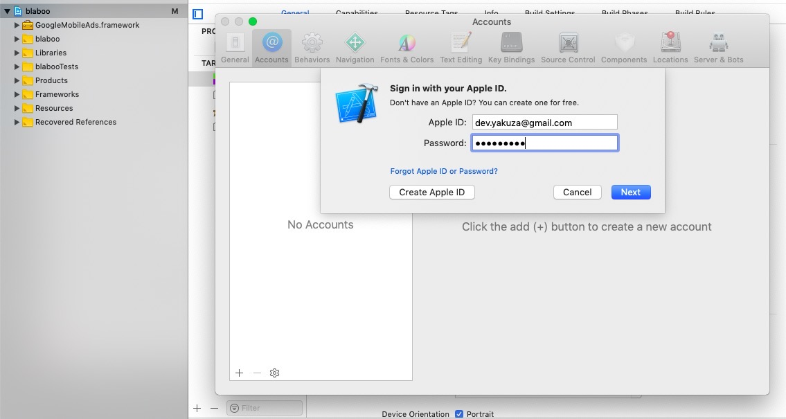 login signing in xcode