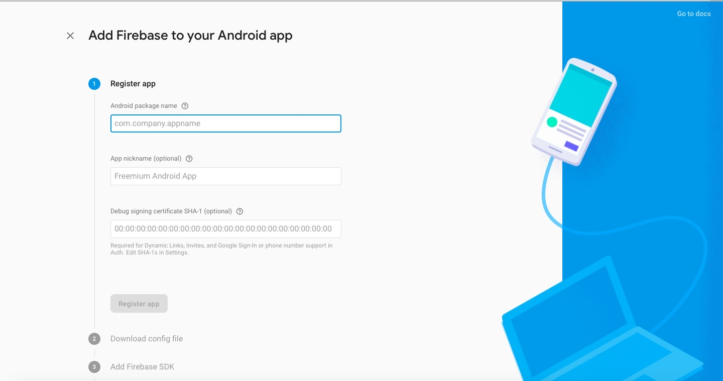 Google Firebase Android app register