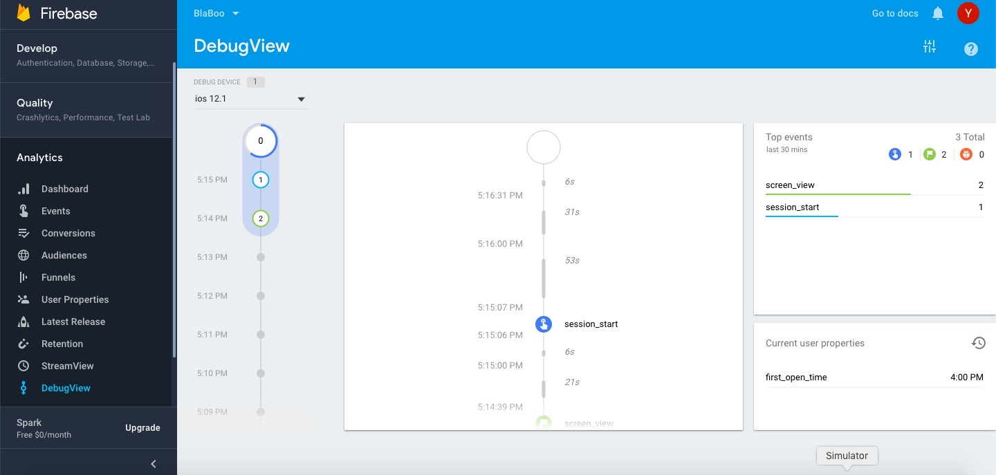 firebase analytics debugview analytics